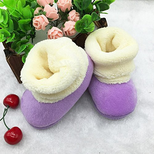 Huhu833 Kinder Mode Mädchen Schuhe Winter Baby Bowknot Schuhe Weiche Sohle Stiefel Prewalker Warme Schuhe Violett-A