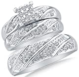 Sizes - L = 9.5, M = 9.5 - 10k White Gold Diamond Cluster Mens And Ladies Couple His & Hers Trio 3 Three Ring Bridal Matching Engagement Wedding Ring Band Set (0.30 cttw.) - Please use drop down menu to select your desired ring sizes