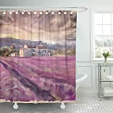 Emvency Shower Curtain Waterproof Polyester Fabric 66 x 72 inches Purple France Lavender