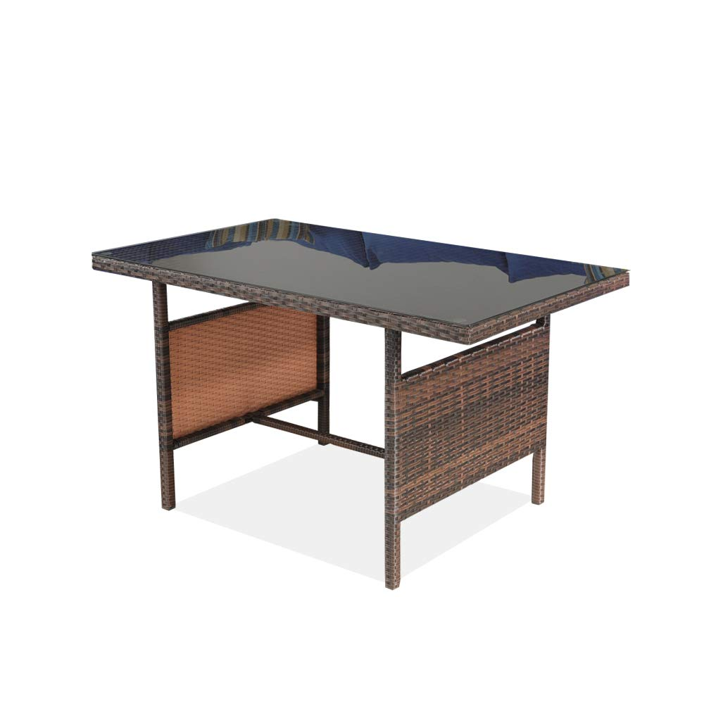 Patio Rattan Dining Table Outside Furniture PE Rattan w/Tempered Glass Top Outdoor Deck Table Brown Rattan