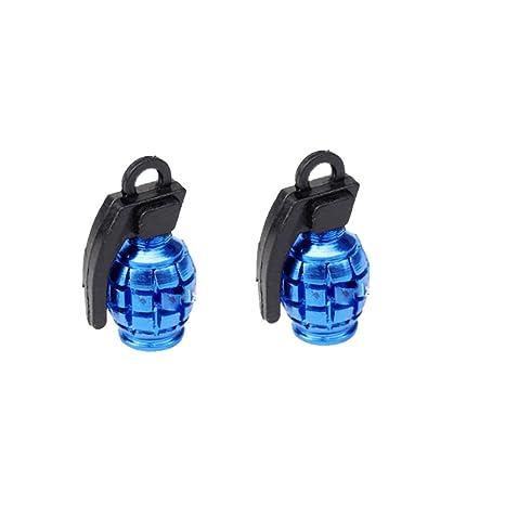 Par de tapas de valves de alloy de granada de mano en color azul ...