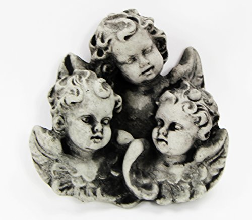 Cherubs Trio Concrete Wall Plaque Cement Religious Figure Cast Stone Catholic Sculpture Garden Art Decor ()