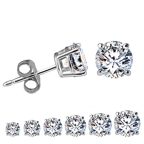 LIEBLICH Women Round Cut Cubic Zirconia Stud Earrings Stainless Steel White Gold Plated Earring Studs 6 Pairs ()