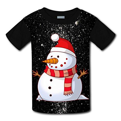 Snowman in a Christmas Hat Coustom Kids Short Sleeve T-Shirt Boys Girls Tee Soft Round Shirt Tops (Halloween Coustoms)