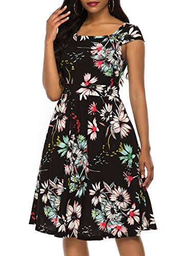 Sleeve Square Collar - Berydress Women's Cap Sleeve Square Collar Floral Cocktail A-Line Pockets Knee-Length Party Summer Wedding Guest Dress (S, 6100-Black Floral)