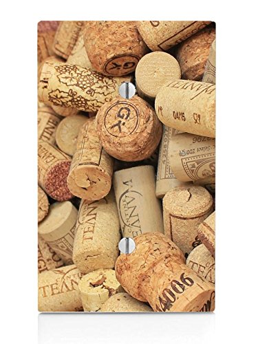Moonlight Printing Wine and Champagne Corks Pattern Background Single Blank Electrical Switch Plate