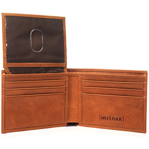 - MUTBAK Citadel - RFID Blocking Bifold Wallet Passcase with Full Grain Leather and Flip Up ID (Moab)