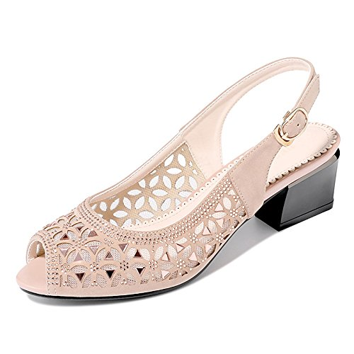 ZHZNVX Zapatos de mujer Tulle/Glitter Verano/bomba básica Gladiator Sandals Chunky talón Casual/Parte,noche negro/Almendra Almond