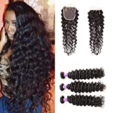 Ossilee Hair Deep Wave Bundles with Closure Brazilian Curly Virgin Hair with Deep wave bundles 4×4 Deep Wave Lace closure with bundles (20 20 20+18closure, Three Part) Review