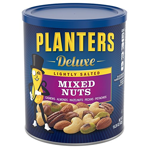 Planters Deluxe Mixed Nuts, Lightly Salted, 15.25 Ounce Canister (Nuts Deluxe)
