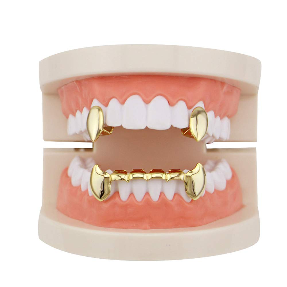 Hip Hop Bling Grillz plaqué or Unisexe Luxueux Plaqué Or Hip Hop Bling Dent Set 2pcs Simple Top Crocs Vampire Top & Bottom Grill Dents - Haut Brillant Pour Adultes Costume Party Accessoires accessoire xingxiu
