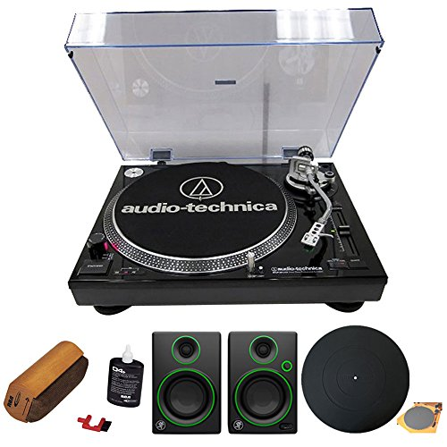 Audio Technica Turntable - Audio-Technica Professional Stereo Turntable w/ USB LP to DIG Recording Piano Black (AT-LP120BK-USB) w/ Record Cleaning Fluid + Mackie CR3 Multimedia Monitors (Pair) + Deco Gear Turntable Platter Mat