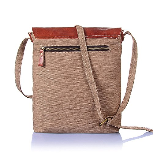 Khaki Retro Waterproof Zipper Shoulder Color Comfortable Simple Bag Shopping Canvas Messenger zwP5tOq