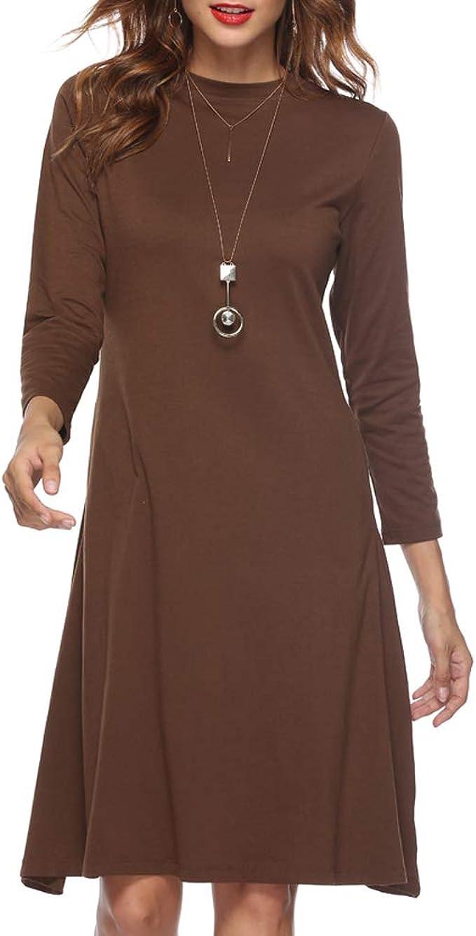 SIRUITON Damen Kleid A Linie Knielang Festlich Elegant Langarm