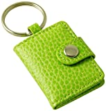 Budd Leather Pebble Grained Leather Photo Key Ring, Mini, Lime