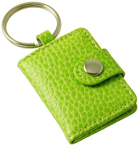 Budd Leather Pebble Grained Leather Photo Key Ring, Mini, Lime by Budd Leather