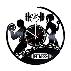 Fitness Vinyl Record Clock - Fitness Workout Sport Best Original Birthday Christmas Wedding Gift - Wall Art Room Decor Handmade Decoration - Vintage Modern Style
