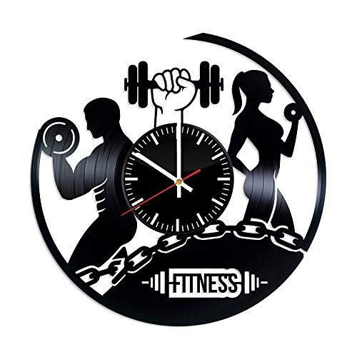 Fitness Vinyl Record Clock - Fitness Workout Sport Best Original Birthday Christmas Wedding Gift - Wall Art Room Decor Handmade Decoration - Vintage Modern Style
