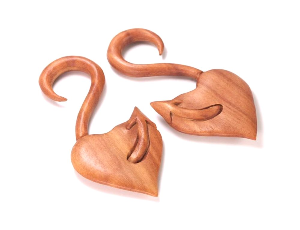 The DEVILS TAIL Red Saba Wood Hanger Earring Organic Body Jewelry - 3mm-12mm - Price Per 1-5mm ~ 4g