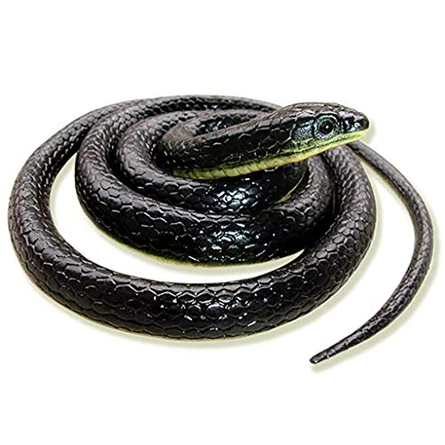 Realistic Rubber Snake Mamba Toy Scare Bird Away Lifelike Fake Snake for Party Halloween Medusa Costume