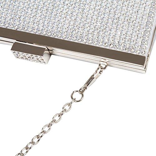 Sera Bling Elegante Sacchetto da Pochette Borsetta a da Cerimonia Fatto Diamante Donna Mano Pochette VESIA Sera da Argento pq0BO