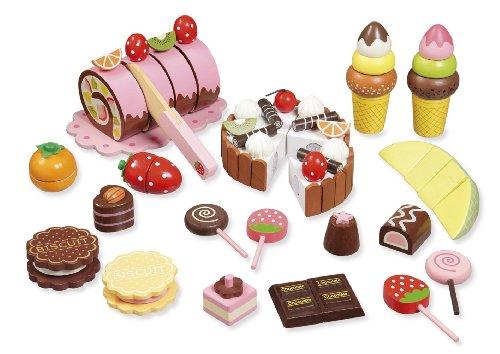 Lebensmittel Geburtstagskuchen; Holzspielzeug; Kinderküche; Spielzeug aus Holz Schneide