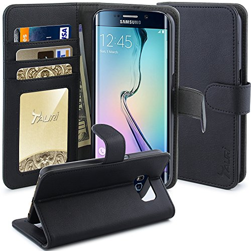 S6 Edge Case, TAURI [Stand Feature] Samsung Galaxy S6 Edge Wallet Leather Case with Stand, ID & Credit Card Pockets Flip Cover - Black