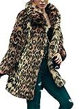 Women's Leopard Sexy Faux Fur Jacket Coat Long Sleeve Winter Warm Fluffy Parka Overcoat Outwear Tops (US 8 = Asian XL)