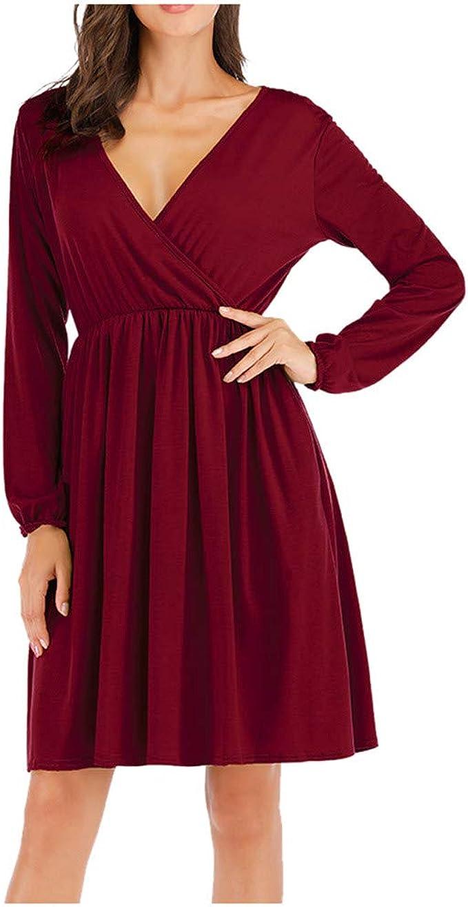 URSING Damen Elegante Kleider V-Ausschnitt Partykleid Ballkleid
