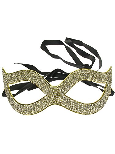 Cat Eye Crystal Pave Classic Rhinestone Masquerade Mask Gold Tone Clear