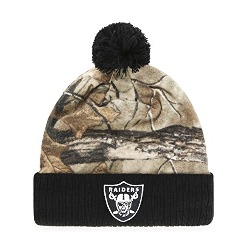 NFL Oakland Raiders Adult NFL Greyson Ots Cuff Knit Cap with Pom, One Size, Realtree