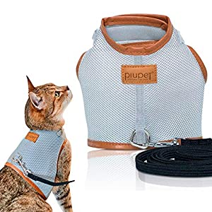 PiuPet® Cat Harness incl. 1.20m cat leash, Escape-proof & Robust Cat Collar, Lead for puppy dogs, Size M