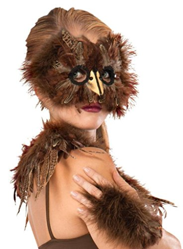 Brown Exotic Feather Bird Mask Woodlands Owl Fairy Carnival Costume Accessory