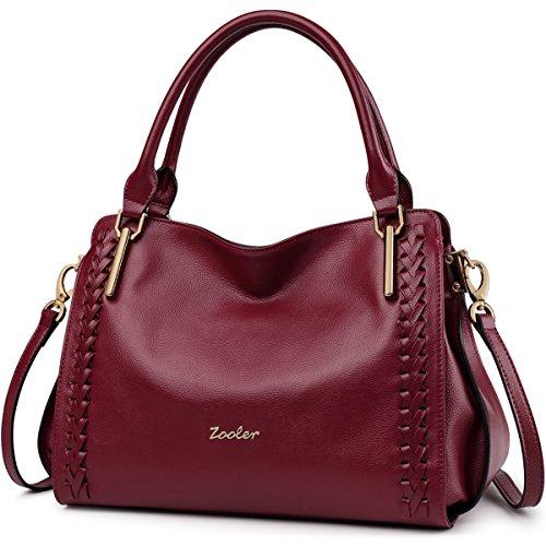 Women's new fashion Satchel Handbag Genuine Leather shoulder bag(red) - 2