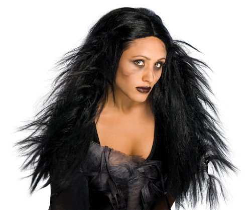 Morticia Adult Wig (Rubie's Costume Dark Ages Wig, Black, One Size)