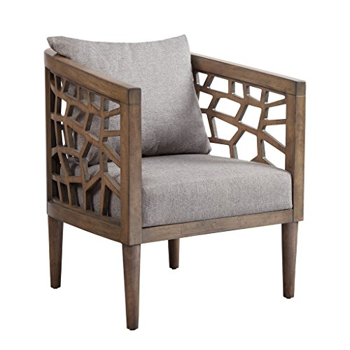 """Ink+Ivy IIF18-0054 Crackle Accent Chair, 27"""" W x 29"""" D x 32.5"""" H, Light Grey/Natural"""