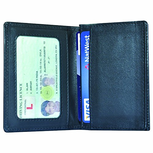 Thin slim real leather credit or business card holder mini wallet ID