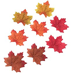 200 Assorted Artificial Fall Maple Leaves of Autumn Colors