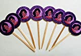 8 Elena of Avalor Glitter Purple Cupcake Picks Birthday Favors Dessert Table Latina Disney Princess