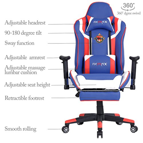 Ficmax Ergonomic Computer Racing Chair Leather Swivel