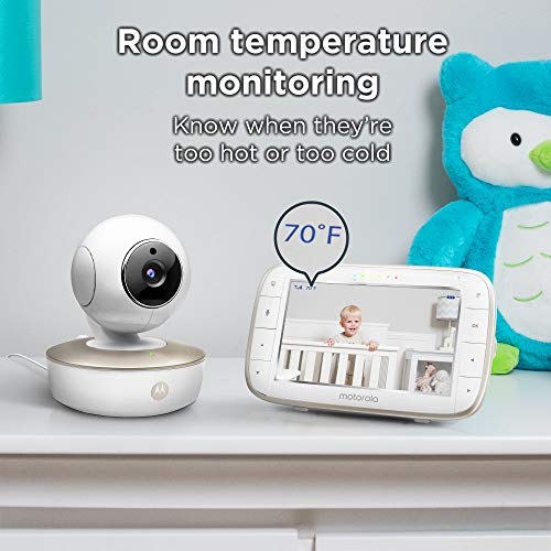515FQF6QjsL - Motorola Video Baby Monitor - 2 Wide Angle HD Cameras With Infrared Night Vision And Remote Pan, Tilt, Zoom - 5-Inch LCD Color Display With Split Screen View, Room Temperature And Sound Alert MBP50-G2