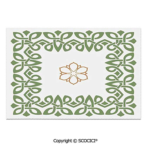 SCOCICI Set of 6 Heat Resistant Non-Slip Table Mats Placemats Nostalgic Celtic Art Inspired Square Shape Frame Print with A Flower in The Centre for Dining Kitchen Table Decor