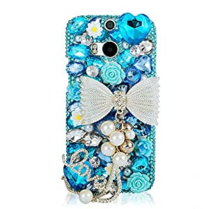 EVTECH(TM) Blue Bling Beads and Bow Chain Series 3D Handmade Crystal Rhinestone Heart Diamond Bling Cover Hard Clear Case (HTC One M8)