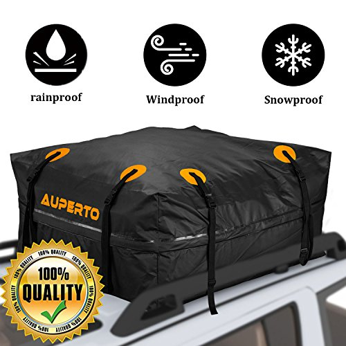 Cargo Bag, AUPERTO Rooftop Rack Carrier 100% Waterproof 15 Cubic Feet for Cars, Vans Or SUVs 95x95x46cm (Black)
