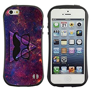 Hybrid Anti-Shock Bumper Case for Apple iPhone 5 5S / Awesome Hipster Moustache Triangle