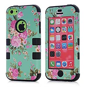 GJY 3 in 1 Hybrid Elegant Penoy Flower Pattern Hard Soft Silicone Back Case Cover Fit For iPhone 5C(Assorted colours) , Green