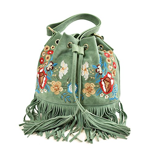Imoshion Women's Fashionable Light Weight Embroidered Olive Vegan Leather Fringe Bertie Shoulder or Crossbody Bag With Adjustable Shoulder Strap