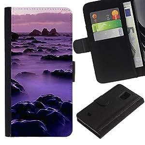 LASTONE PHONE CASE / Lujo Billetera de Cuero Caso del tirón Titular de la tarjeta Flip Carcasa Funda para Samsung Galaxy S5 Mini, SM-G800, NOT S5 REGULAR! / Nature Pink Mist