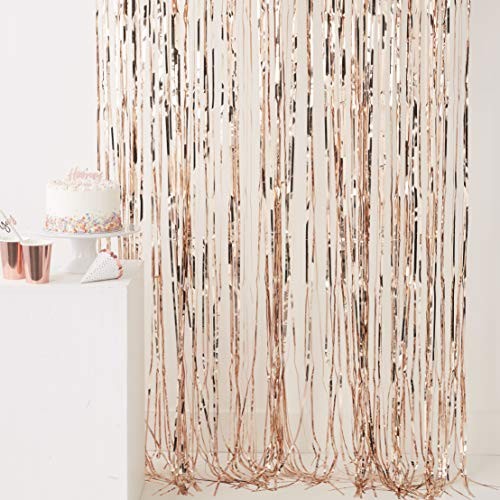 Ginger Ray Rose Gold Shiny Fringe Curtain Room Decoration Backdrop - 2.5m x 1m - Pick And Mix ()