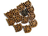 50 Pieces Hand Carved Wooden Pendant Bead, 30x29x6mm Filigree Flower Wood Bead Pendant Charms, GDS1043/1